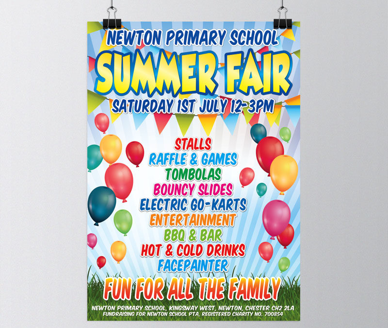 Newton Primary School Summer Fair Leaflet Design
