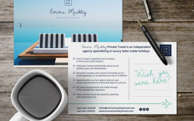 Postcard design and print for a Chester travel agent.