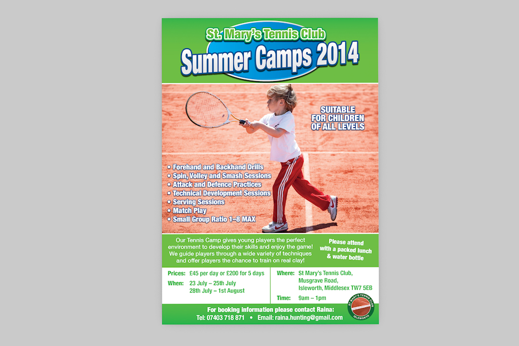 St Mary's Tennis Club 2014 flyer